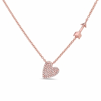 14K Rose Gold, Diamond Heart & Arrow Necklace by Bassali