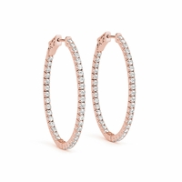 14k Rose Gold Diamond Inside Out Hoop Earrings
