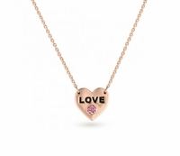 "14K Rose Gold & PGD Pink Diamond Necklace - ""LOVE"""