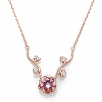 14K Rose Gold, Pink Tourmaline and Diamond Branch Necklace