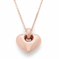 14K Rose Gold Puffed Heart Necklace