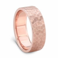 14K Rose Gold Wedding Band - HAMMER FINISH by J.R. YATES