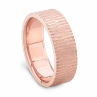 14K Rose Gold Wedding Band - TREE BARK by J.R. YATES