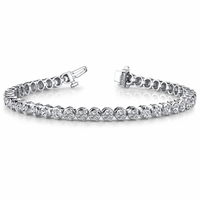 14K White Gold 3 Prong Diamond Bracelet - 5.53 ctw