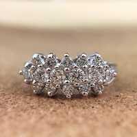 14K White Gold 3 Row Diamond Band