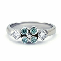 14K White Gold, Blue Diamond & Princess Cut Diamond Ring