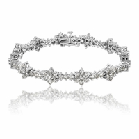 14K White Gold & Diamond Flower Cluster Bracelet - 5 carats