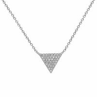 14K White Gold, Diamond Triangle Necklace by Bassali