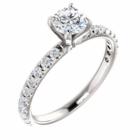 14K White Gold French Set Diamond Engagement Ring - .56ct GIA Round