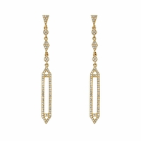 14K Yellow Gold and Diamond Art Deco Drop Earrings by Bassali