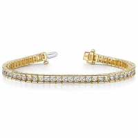 14K Yellow Gold Channel Set Diamond Bracelet - 4 ctw