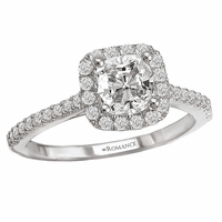 18K Cushion Cut Diamond Engagement Ring .27ctw