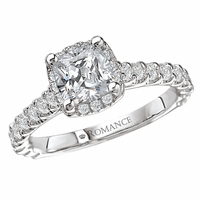 18K Cushion Cut Diamond Engagement Ring .59ctw