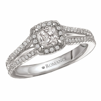 18K Cushion Cut Diamond Split Shank Ring .25ctw