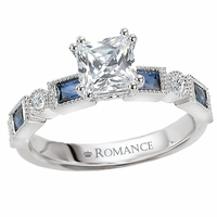 18K Diamond & Blue Sapphire Engagement Ring .12ctw