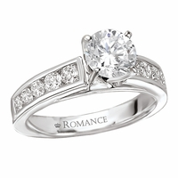 18K Diamond Engagement Ring With Channel Set Diamonds .62ctw