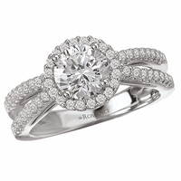 18K Diamond Engagement Split Ring With Halo .38ctw
