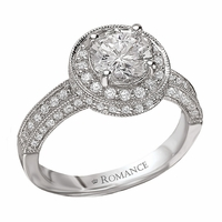 18K Diamond Engagement Ring With Milgrain .66ctw