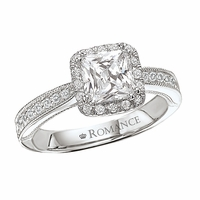 18K Diamond Cushion Cut Enagement Ring With Milgrain & Halo .32ctw