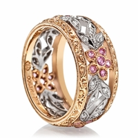 18K Diamond & Pink Sapphire Floral Band