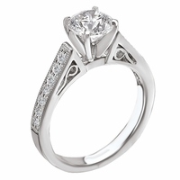 18K Diamond Scroll Engagement Ring .21ctw Romance Collection
