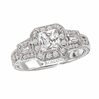 18K Princess Cut & Baguette Diamond Halo Engagement Ring .52ctw
