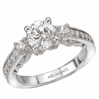 18K Diamond Three Stone Ring With Scroll Design .68ctw Romance Collection