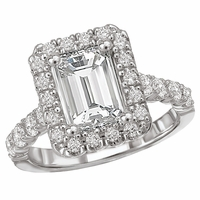 18K Emerald Cut Diamond Engagement Ring .83ctw