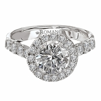 18K Halo Diamond Engagement Ring .80ctw - Romance Collection