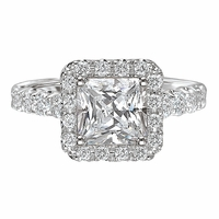 18K Halo Princess Cut Engagement Ring .80ctwRomance Collection