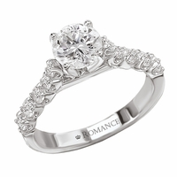 18K Micro Set Diamond Engagement Ring .44ctw Romance Collection