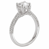 18K Milgrain Trellis Diamond Engagement Ring .39ctw