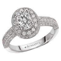 18K Oval Diamond Engagement Ring With Halo .64ctw