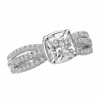 18K Cushion Cut Diamond Engagement Ring With Triple Shank - .39ctw