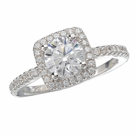 18K Pave Diamond Engagement Ring With Halo .24ctw