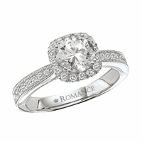 18K Pave Diamond Engagement Ring With Milgrain & Halo .32ctw