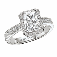 18K Pave Radiant Cut Engagement Ring With Halo .34ctw