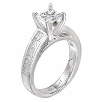 18K Princess Cut Engagement Ring With Channel Set diamonds Romance Collection 1ctw