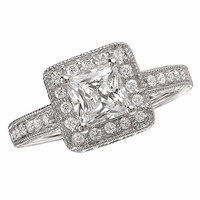 18K Princess Cut Engagement Ring With Halo .66ctw