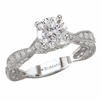 18K Scallop Shape Diamond Engagement Ring .36ctw