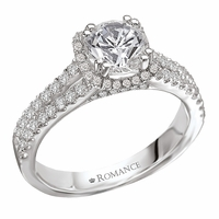 18K Split Shank Halo Engagement Ring .50ctw