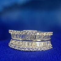 18K White Gold, Baguette and Round Diamond Band - 1.50ctw