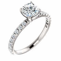 14K White Gold French Set Diamond Engagement Ring - .76ct GIA Cushion