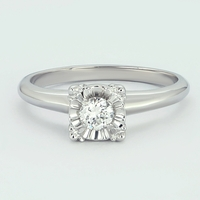 1950s Vintage 14K White Gold Illusion Setting Diamond Ring, .21ct