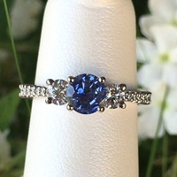 3 Stone Diamond and Blue Sapphire Pave Engagement Ring