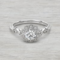 Vintage Inspired Flower Engagement Ring