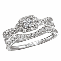 .77ctw Princess Cut Halo Diamond Wedding Set by Romance