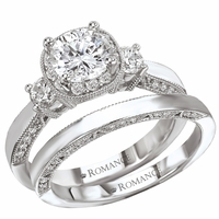 .77ctw Diamond Milgrain 14K White Gold Wedding Set by Romance