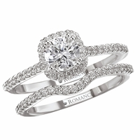 .87ctw Round Brilliant Cushion Halo Diamond Wedding Set