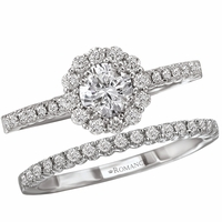.90ctw Round Brilliant Diamond Halo Wedding Set
